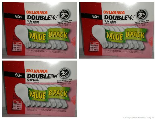 Sylvania 60 Watt Double Life Soft White Bulb- (24 Pack)