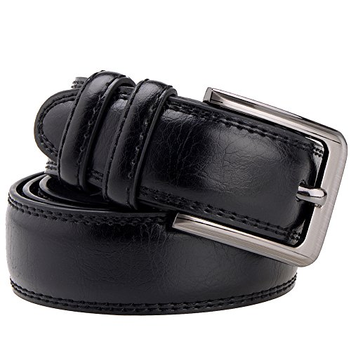 Vbiger Western Style Genuine Leather Belt with Polished Buckle Double-stitching (one size, Black)