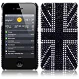 iPhone 4S / iPhone 4 Black Union Jack Diamante Case / Cover / Shell / Shieldby TERRAPIN