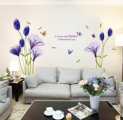 hallobo xxl wandtattoo lily wandaufkleber wandsticker wall sticker schmetterling blumen. Black Bedroom Furniture Sets. Home Design Ideas