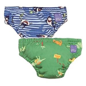 Vital Innovations 2SWJL-BS-GD Bambino Mio - Pañal bañador (tamaño XL, 2 unidades), diseño de tiburones y dinosaurios, color azul y verde