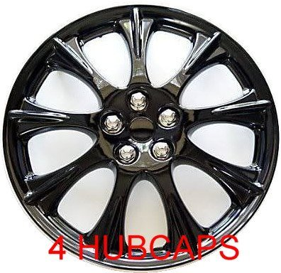 "14"" Set Of 4 Ice Black Hubcaps Wheel Covers Design Are Universal Hub Caps Fit Most 14 Inch Wheels"