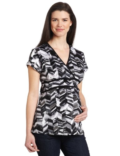Three Seasons Maternity Women's Short Sleeve Double Piped Surrplice Top