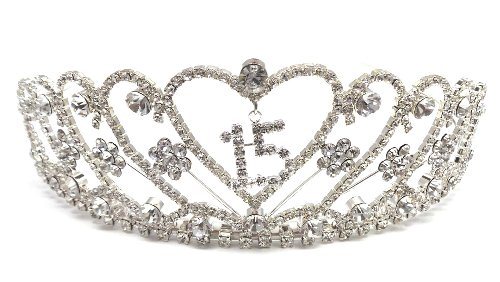 Quinceanera 15 Birthday Tiara Clear Crystal Rhinestone Crown Princess - Clear Color front-63982