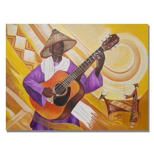 Trademark Fine Art Guitarist In Traditional Attire By Djibrirou Kane Canvas Wall Art, 18X24-Inch front-367304