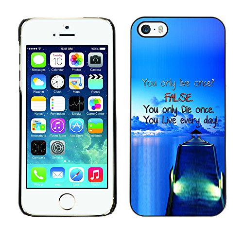 Qstar Colorful Printed Hard Protective Back Case Cover Shell Skin for Apple iPhone 5 / iPhone 5S ( Dock False Blue Live Die Ship Sea Ocean)