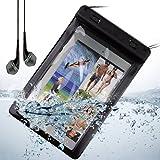 Black Waterproof Case Diving Dry Box Water Resistant Bag for Apple ipad Mini / ipad mini 2 Retina display + Black VanGoddy Headphones With MIC