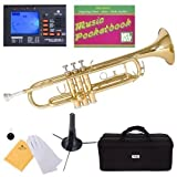 Mendini MTT-L Gold Lacquer Brass Bb Trumpet + Tuner, Case, Stand, Mouthpiece, Pocketbook & More (Color: Gold)