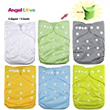 Cloth diapers, ANGEL LOVE Baby Reusable Washable All in One Size Pocket Diapers, Adjustable Snap, 6 pcs Pack Cloth Diaper with 1 Insert Each, 6 Pcs + 6 Inserts 1ZH01 (Neutral Color)