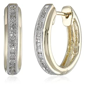 10k Yellow Gold Diamond Hoop Earrings (1/6 cttw, I-J Color, I2-I3 Clarity) from Verigold Jewelry