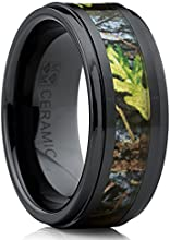 Men's Black Ceramic Ring Outdoor Hunting Camouflage Band, Real Fortest Trees, Leaves 9mm Comfort Fit