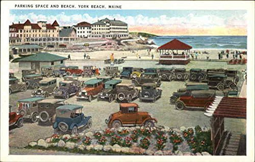 Parking Space and Beach York Beach, Maine Original Vintage Postcard (York Space Border compare prices)