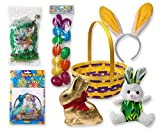 Easter Basket Complete with Easter Basket, Easter Bunny, Bunny Ears Headband, 12 Bright Easter Eggs, Lindt Bunny Milk Chocolate, Green Grass & Gift Wrap!! (DIY)