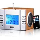 August MB300 Mini Estéreo MP3 y Radio Despertador FM en Acabado de Madera - Lector de Tarjeta / Puerto USB / Enchufe AUX (Entrada Audio 3.5mm) - 2 x 3W Altavoces HiFi y Batería Recargable Integrada