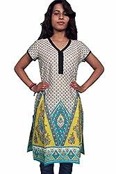Miraaya Women's Cotton Kurti (M2172B_4109_Yellow_X-Small)