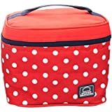 Lock & Lock Plastic Lunch Box With Polka Bag Set, 4-Pieces, Red