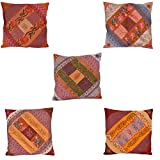 Chic & Comfort My Home MY Life.... Blended Cotton Cushion Cover (Set Of 5 ) (16 Cm X 16 Cm,Brown)