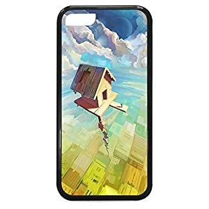 iPhone 5C Case,Durable Shockproof [Cabin in the Sky] Premium Flexible [Black] Soft TPU Case for iPhone 5C - (Cartoon pattern series)