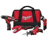 Milwaukee 2499-24 M12 Combo 3/8 Drvdrl/Hackz/Copper Tube Cutter/Lgt