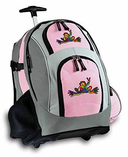 Peace Frogs Rolling Backpack Deluxe Pink Super Cool Backpacks Bags With Wheels