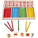 SDBING Wooden Number Cards and Counting Rods with Box