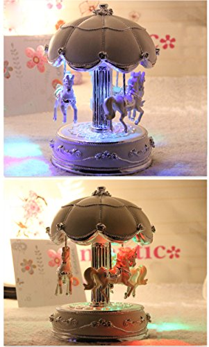 LIWUYOU Luxury Large Size Color Change LED Light Luminous Rotating Carousel Horse Musical Box With Music of Castle in the Sky Color Beige 5