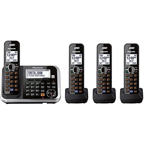 Panasonic KXTG6844B Dect 6.0 Expandable Digital Cordless Answering System with 4 Handsets