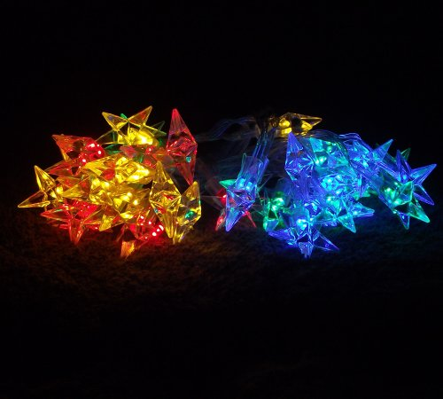 Dealbeta Multi-Colored 4M 40 Led Curtain Fairy String Light Battery Operated Five-Pointed Star Styled Indoor&Outdoor Used For Christmas, Parties, Wedding, New Year Decorations, Etc