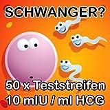 """50 Schwangerschaftstest Schwangerschaftsfr�htest 10 mIU/ml hohe Sicherheitvon """"One Step"""""""