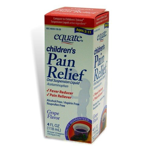 Equate Children's Pain Relief, Ages 2-11, Grape Flavor, Oral Suspension, Acetaminophen Liquid 4-oz