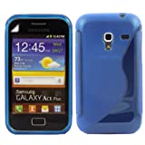 S-Line Gel Shell Case Cover And Screen Guard For Samsung Galaxy Ace Plus S7500 / Blue