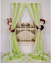 Curtain Critters ALGFMY240510COL Plush Safari Giraffe and Chocolate Monkey Curtain Tieback Collector