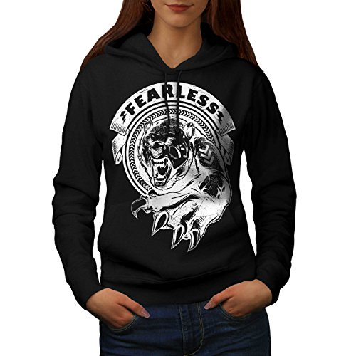 [Fearless Wild Animal Tiger Bear Women NEW Black M Hoodie | Wellcoda] (Bear Jew Costume)