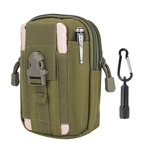 Tactical Pouch - Compact Water-resistant Molle EDC Utility Gadget Gear Tools Organizer - Free Keychain Flashlight (Oliver Green)