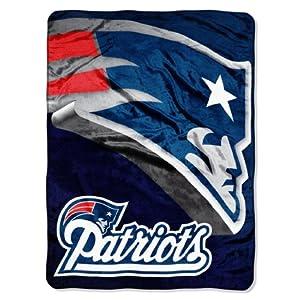 NFL New England Patriots 60-Inch-by-80-Inch Micro Raschel Blanket, Bevel Design by Northwest