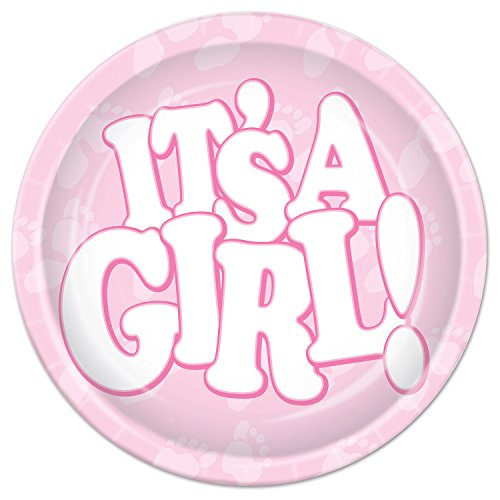 Beistle It's A Girl Plates, 7-Inch, Pink/White