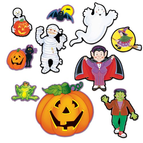 Beistle 10-Pack Halloween Cutouts, 5-Inch to 12-Inch