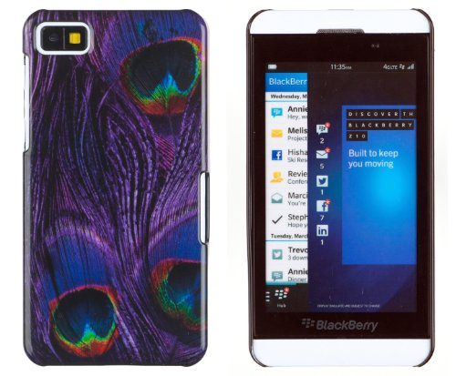 Purple Peacock Print Hard Case For Blackberry Z10 + Dandycase Keychain Screen Cleaner [Retail Packaging By Dandycase]