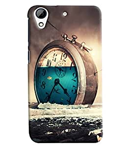 Blue Throat Clock Wasting Time Printed Designer Back Cover/ Case For HTC Desire 728