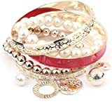 Shining Diva Fashion Pearl Coins Element Exquisite Charm Multilayer Bangle Bracelets For Girls