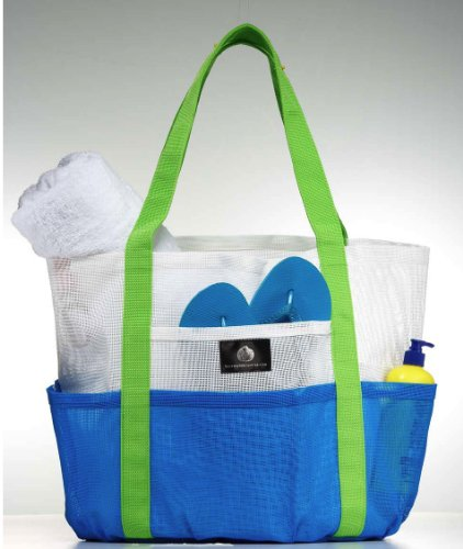 White and Caribbean Blue Mesh Beach Tote – Family Size Whale Bag