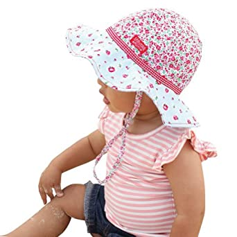 Toddler Girls Reversible Cotton Sun Hat Rosie Poise Floppy Hat (Baby 12-24 Months),upf50+