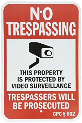 "SmartSign Security Sign, Legend ""California No Trespassing Video Surveillance"" with Graphic, Black/Red on White"