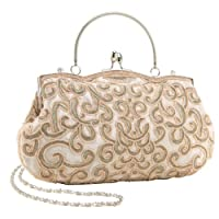 MG Collection Champagne Hand Embroidered Beaded Evening Baguette Clutch Purse