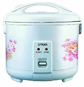 Tiger 10 Cup Electric Rice Cooker / Warmer (Floral White)
