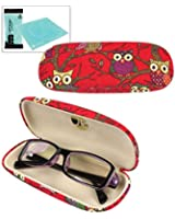 JAVOedge Owl Fabric Print Eyeglass Case