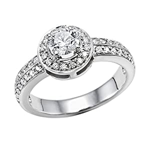 GIA Certified 14k white-gold Round Cut Diamond Engagement Ring (1.01 cttw, E Color, SI2 Clarity)