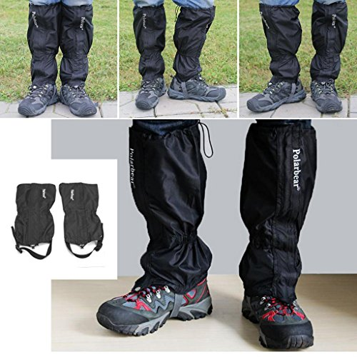 fenrad Nero 2pcs 1 accoppiamento esterna impermeabile Escursionismo Walking Arrampicata Caccia Neve Legging Ghette Waterproof Legging gaiters per escursioni alpinismo campeggio Walking Climbing Hunting Snow