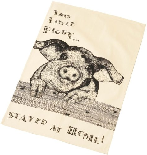 Large Cream & Black Cotton Piggy Tea Towel - 46 X 72Cm