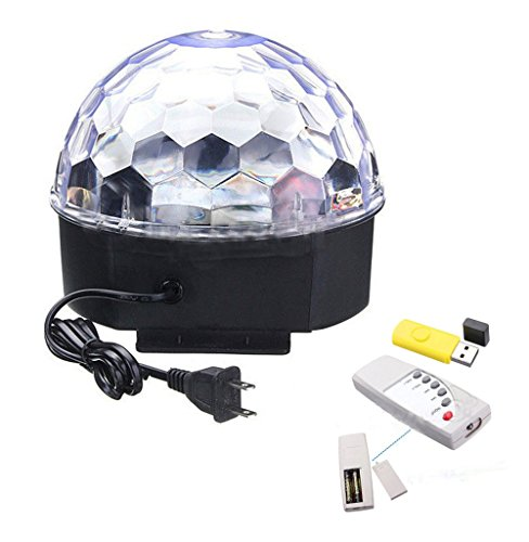LED Crystal Magic Ball Rotating Light RGB Stage Effect Light Voice Activated with Remote Controller and USB Disk For DJ Disco House Party Hotel Stage Office Camping Field